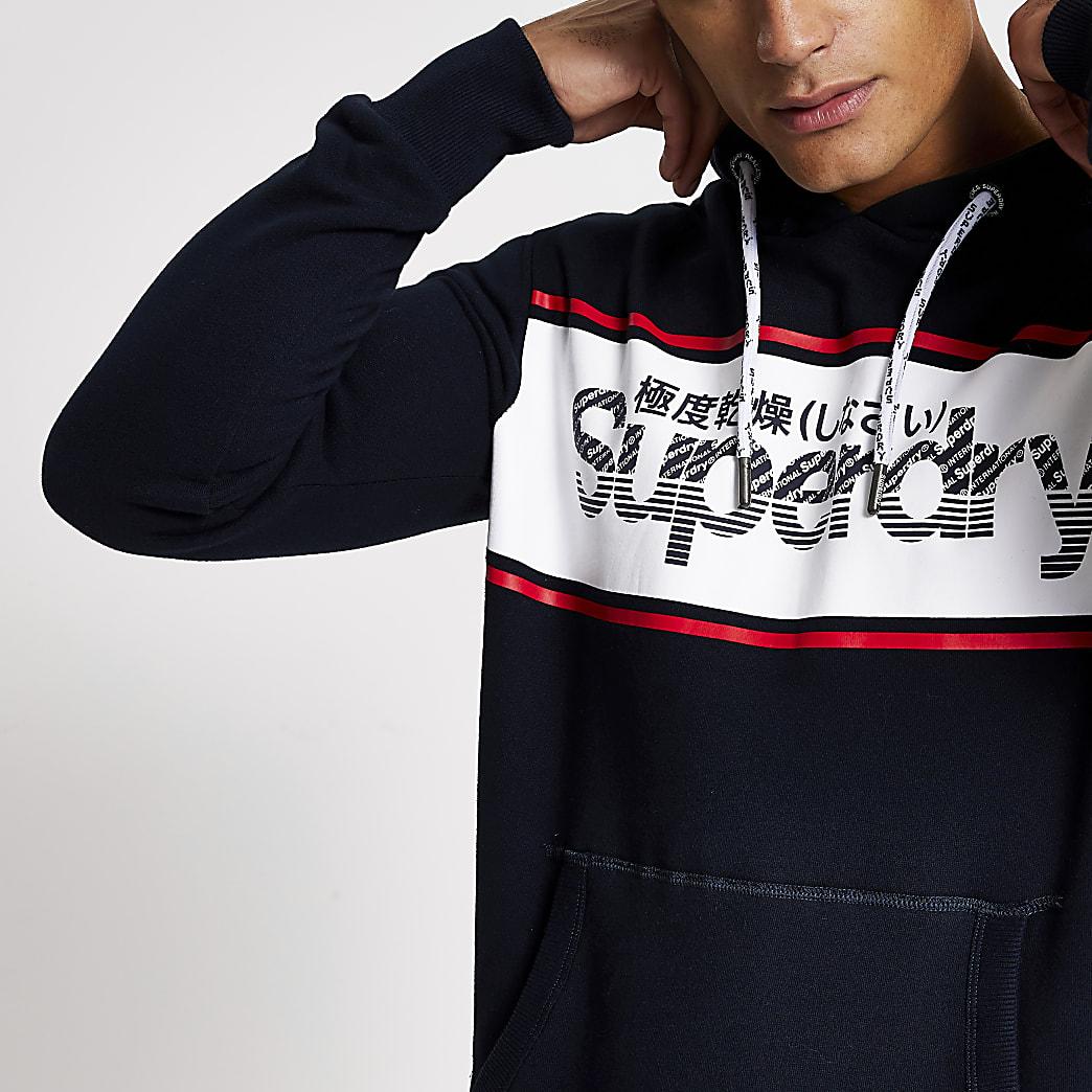 Superdry black retro sport hoodie