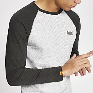 Superdry – T-shirt écru à manches longues raglan