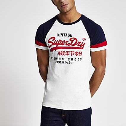 Superdry ecru logo print raglan T-shirt