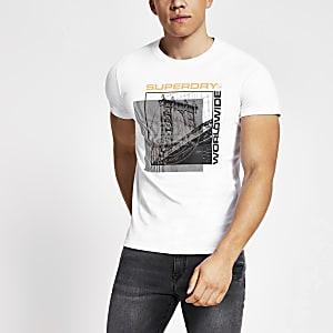 Superdry – T-shirt blanc impriméà manches longues