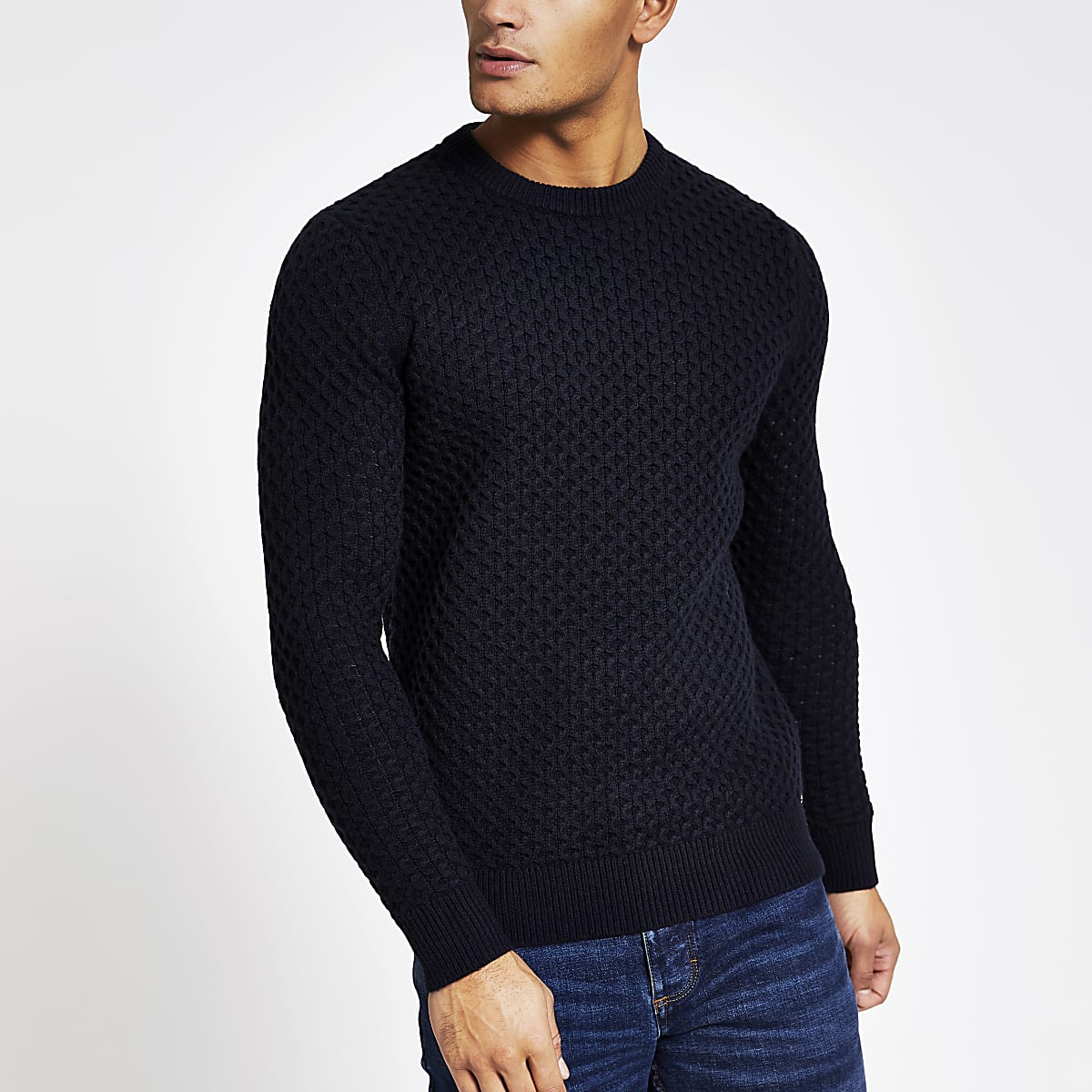 Superdry Edit navy cable knit jumper