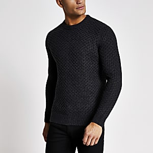 Superdry grey cable knitted jumper