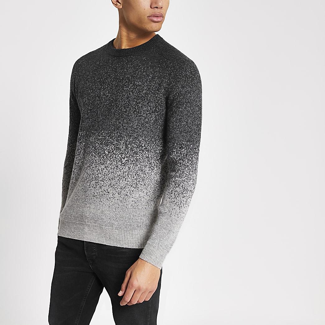 Superdry - Grijze gebreide trui met kleurovergang