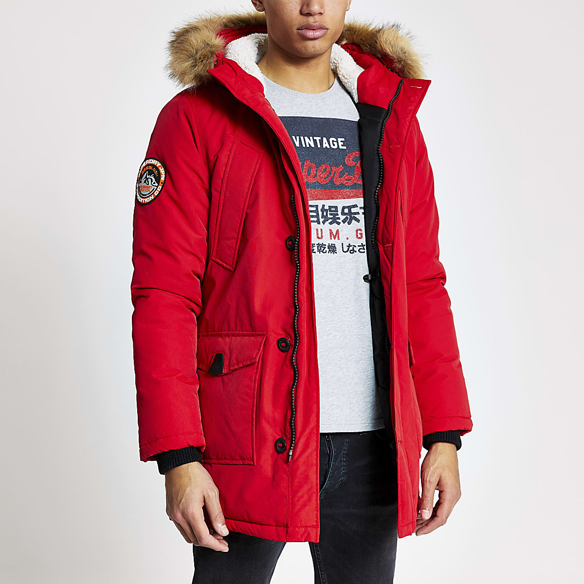 Superdry red Everest parka jacket