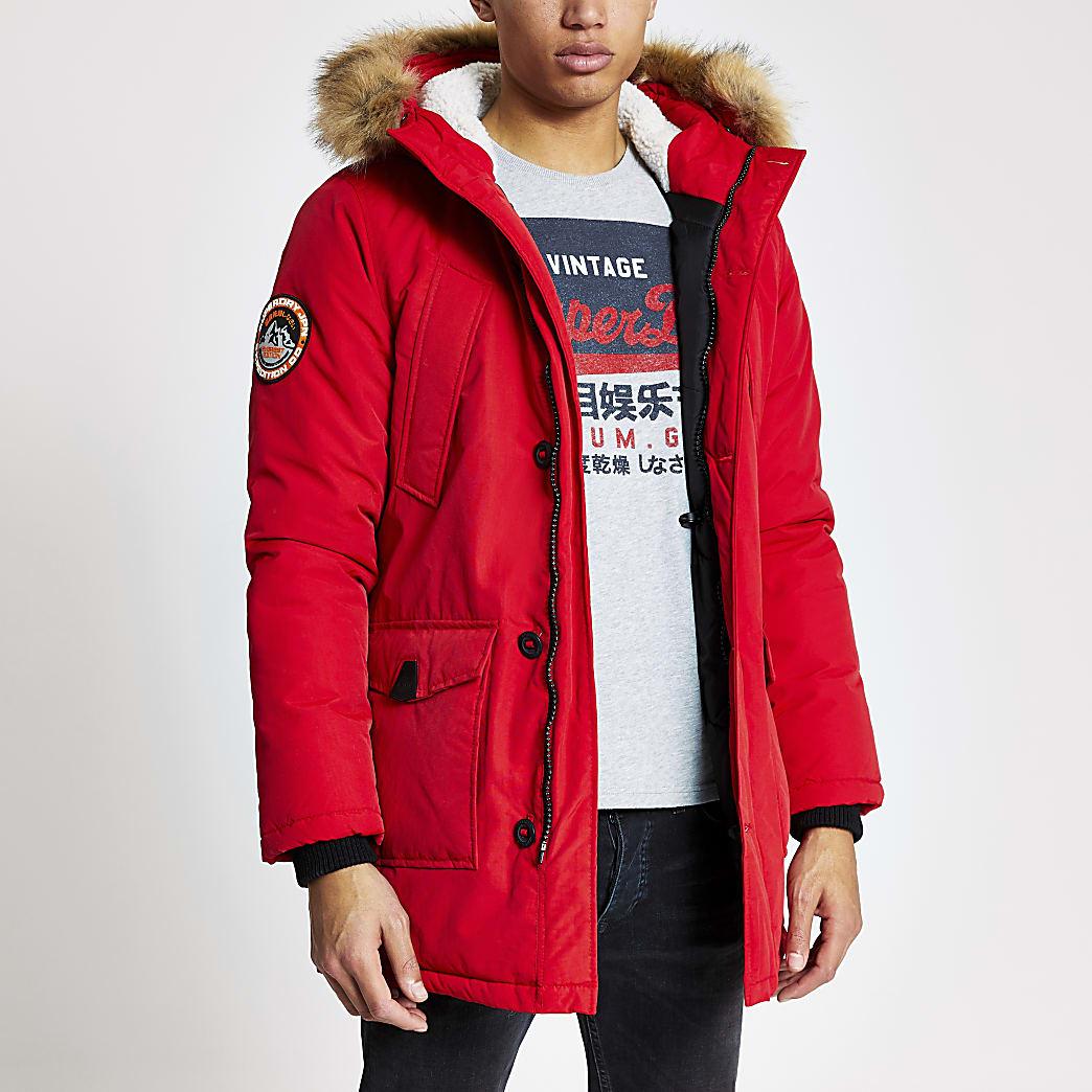 Superdry red Everest parka jacket