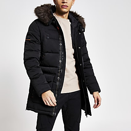 Superdry black faux fur hood padded jacket