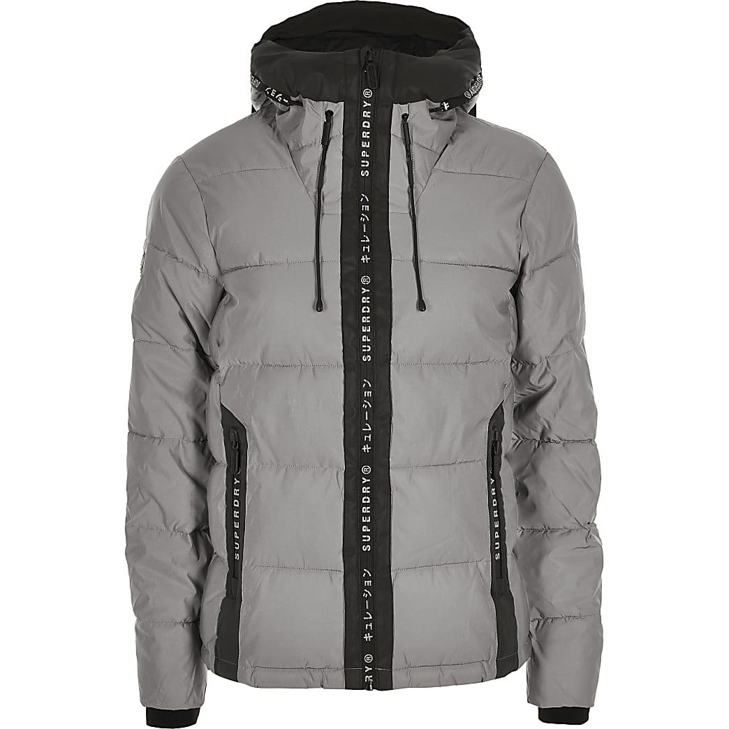 Superdry reflective grey light jacket padded rBxCedo