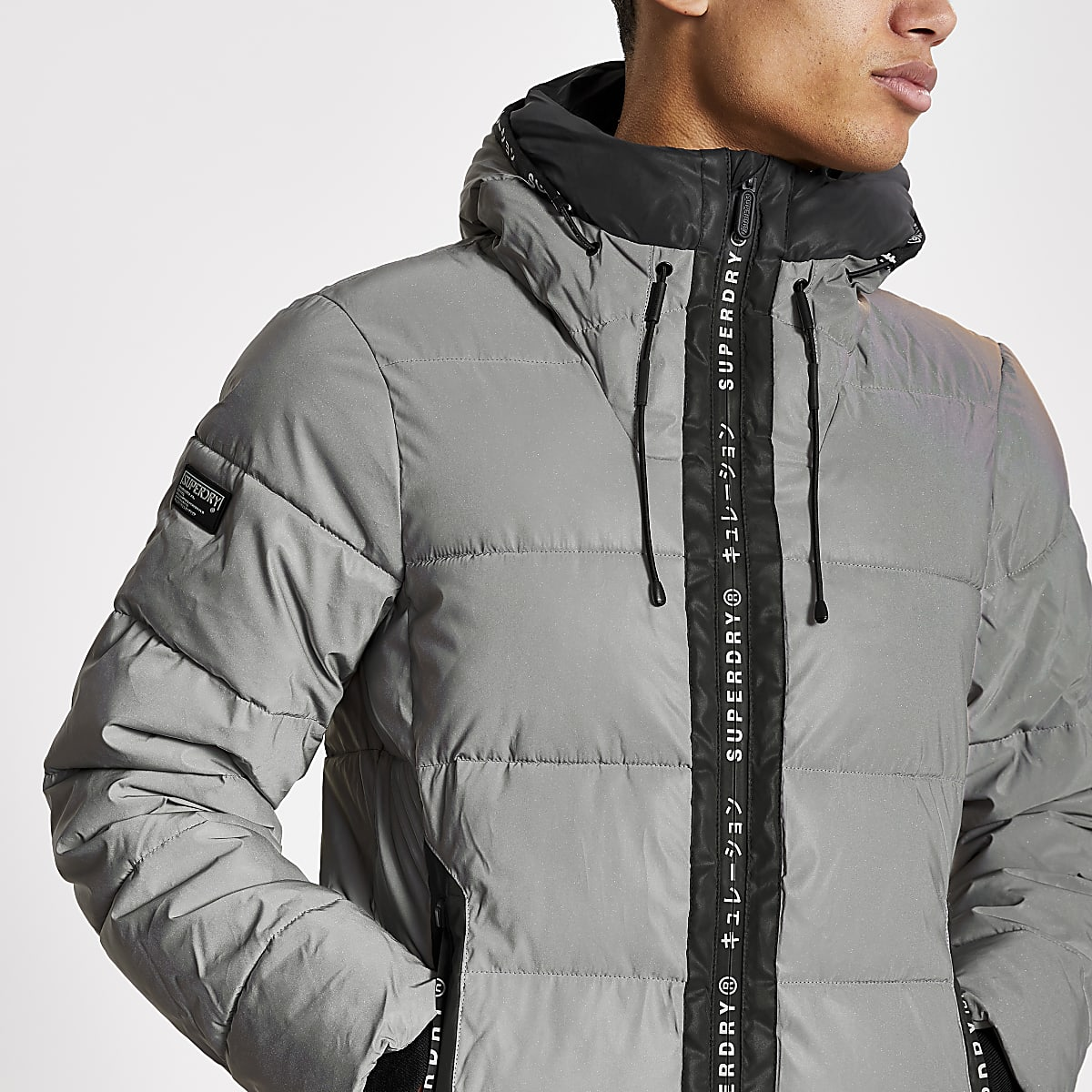 Superdry light grey reflective padded jacket