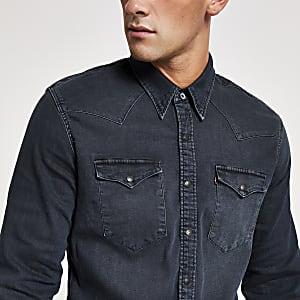 Levi's - Marineblauw denim overhemd met normale pasvorm