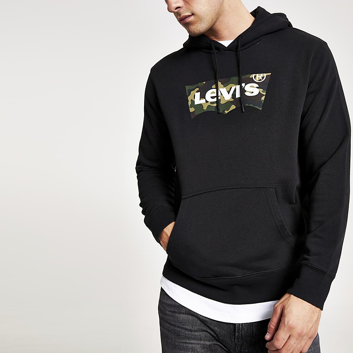Levi's black camo logo print hoodie