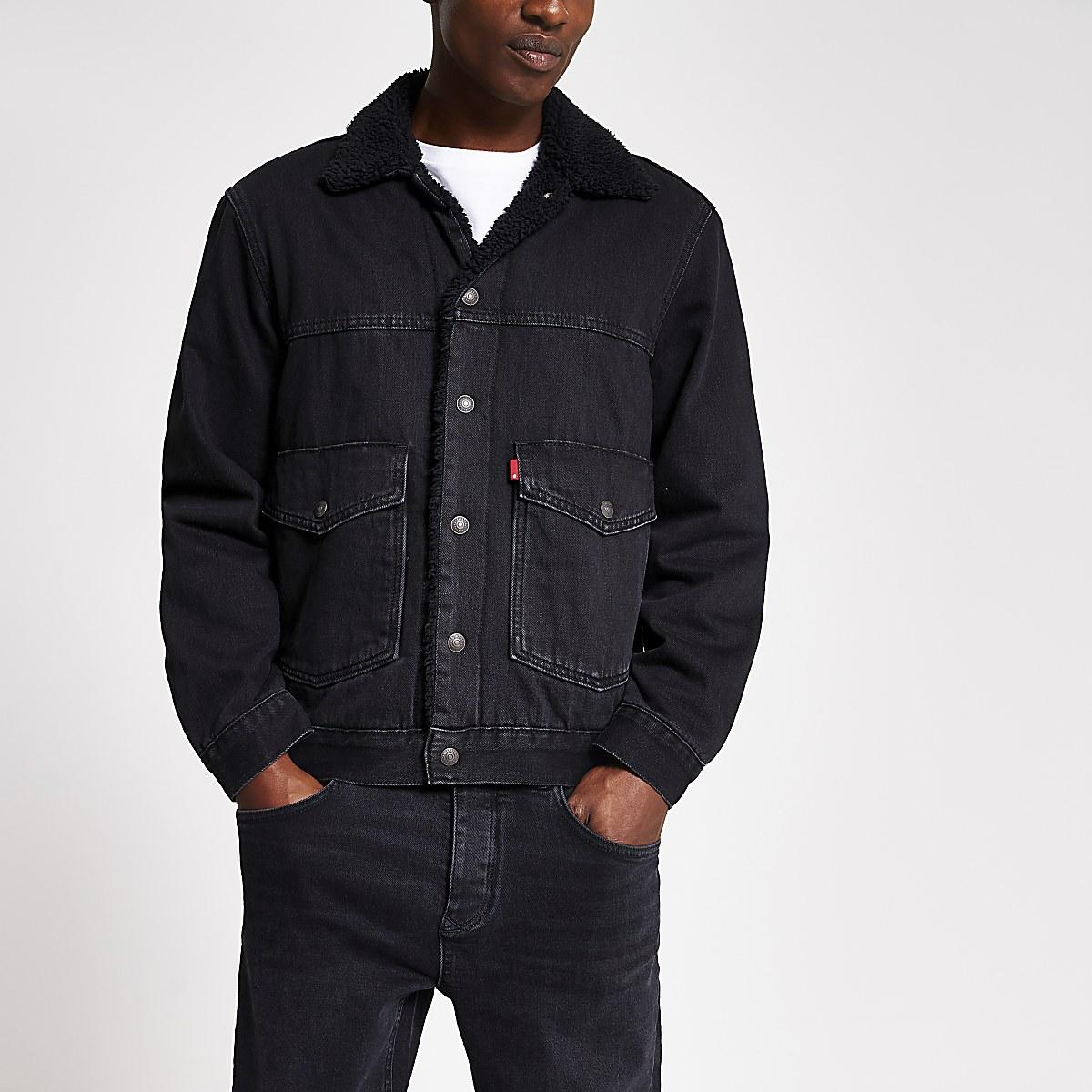 Levi's – Blouson noir bordure effet mouton