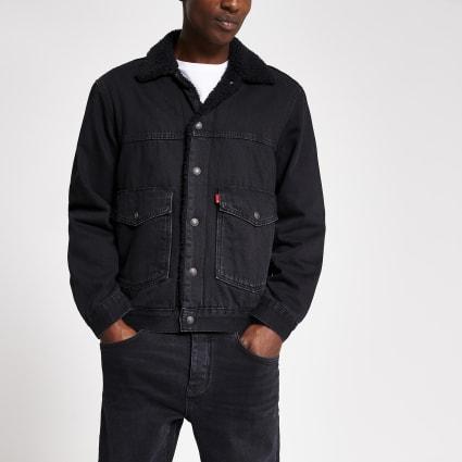 Levi's black borg trim trucker jacket