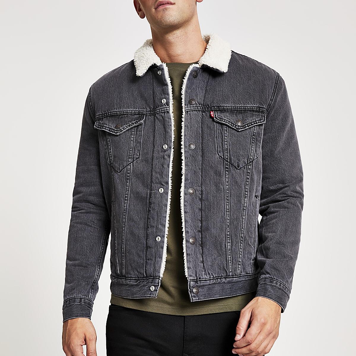 Levi's – Blouson gris bordure effet mouton