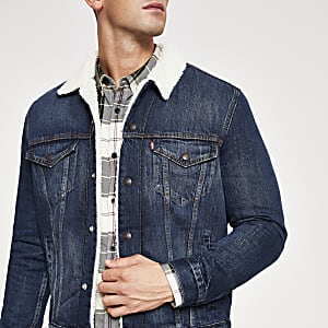 Levi's blue borg trim trucker jacket
