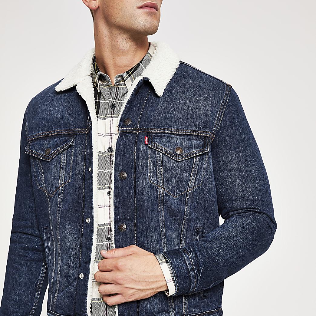 Levi's blue borg trim trucker jacket