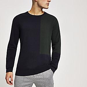 Selected Homme - Marineblauwe pullover met kleurvlak
