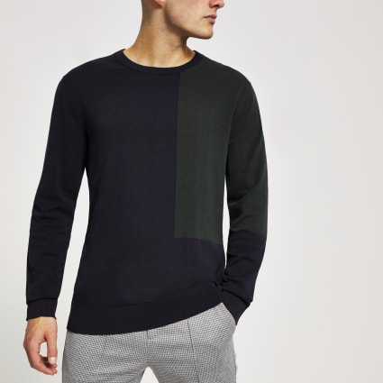 Selected Homme navy colour block jumper