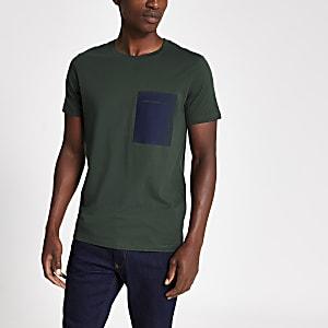 Selected Homme - T-Shirt in Grün mit Brusttasche