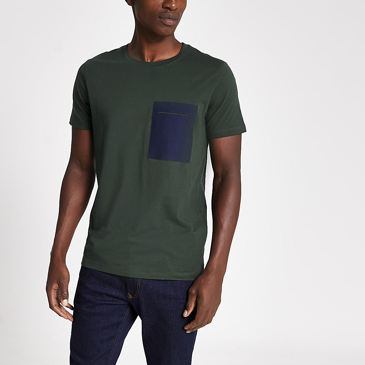 Selected Homme - Groen T-shirt met borstzak