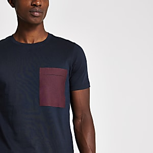 Selected Homme navy chest pocket T-shirt