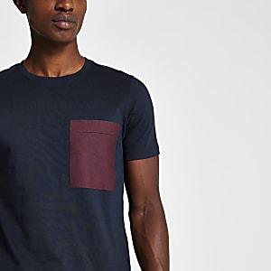 Selected Homme – Marineblaues T-Shirt mit Brusttasche