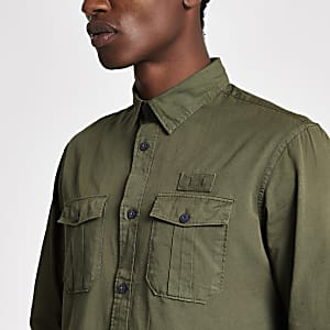 Selected Homme dark green long sleeve shirt