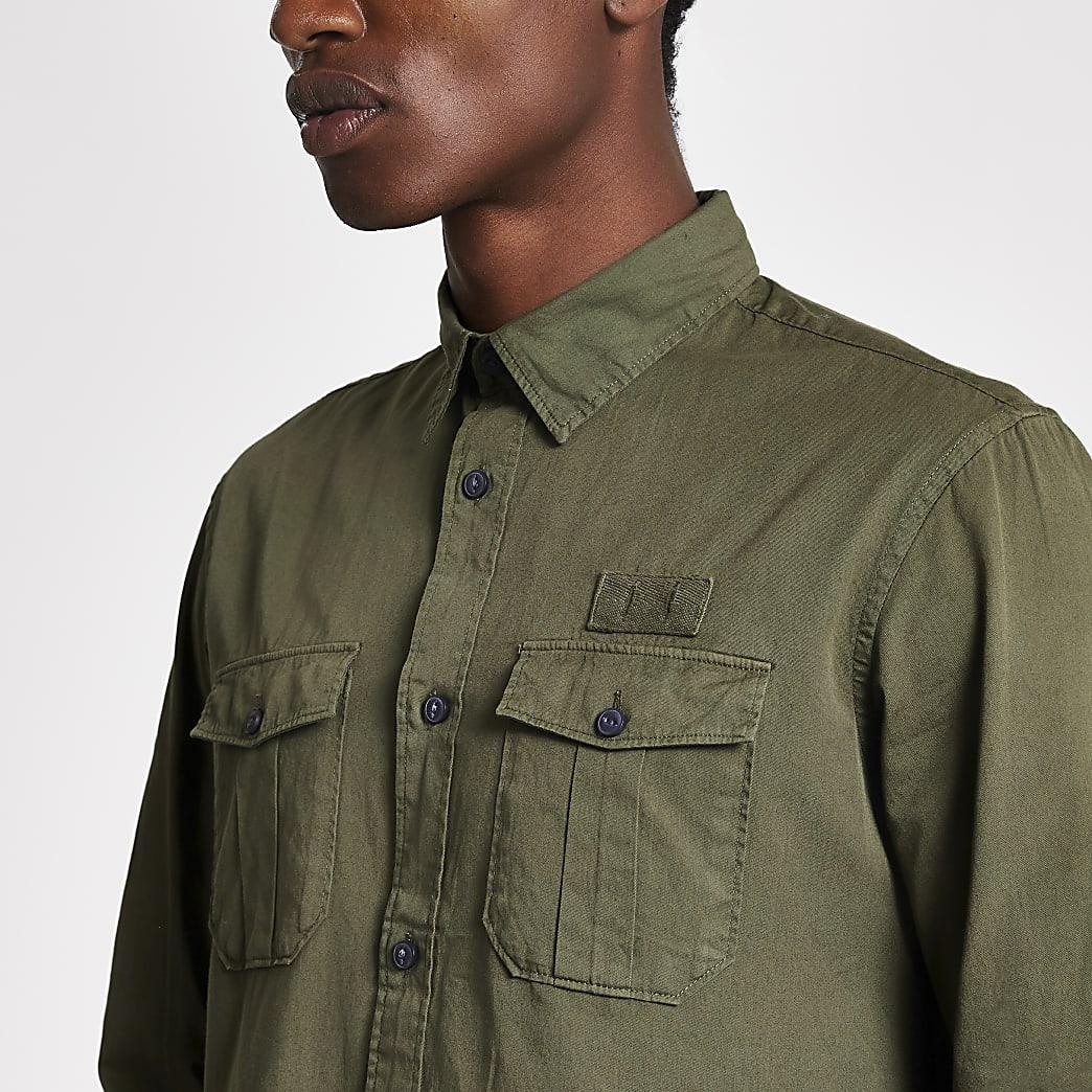 Selected Homme - Donkergroen slim-fit overhemd