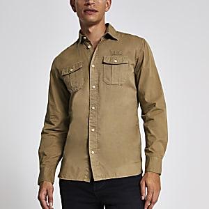 Selected Homme - Kiezelgrijs overhemd met lange mouwen