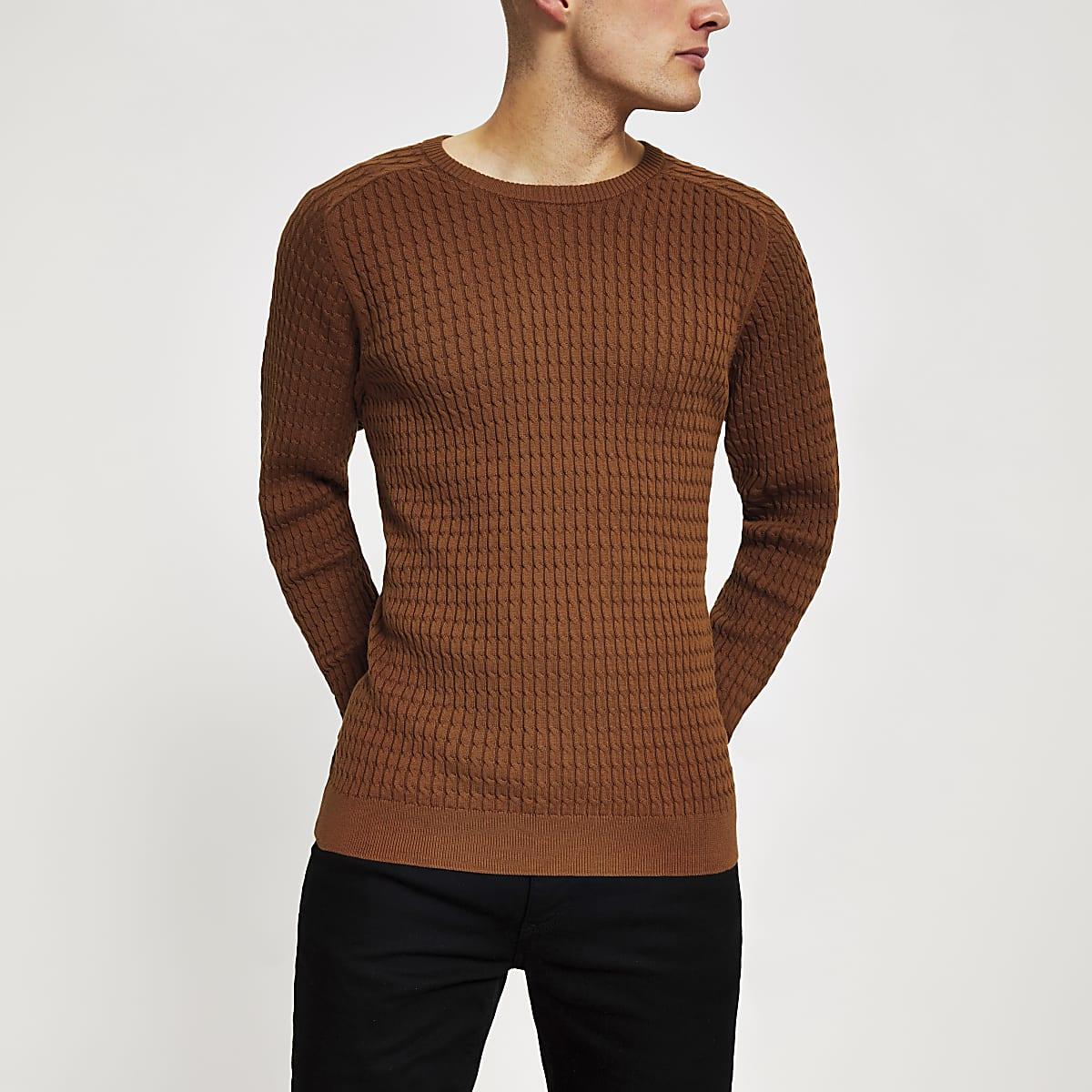 Selected Homme - Oranje gebreide pullover met kabelpatroon
