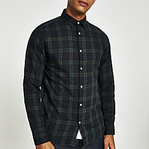 Selected Homme - Donkergroen geruit overhemd
