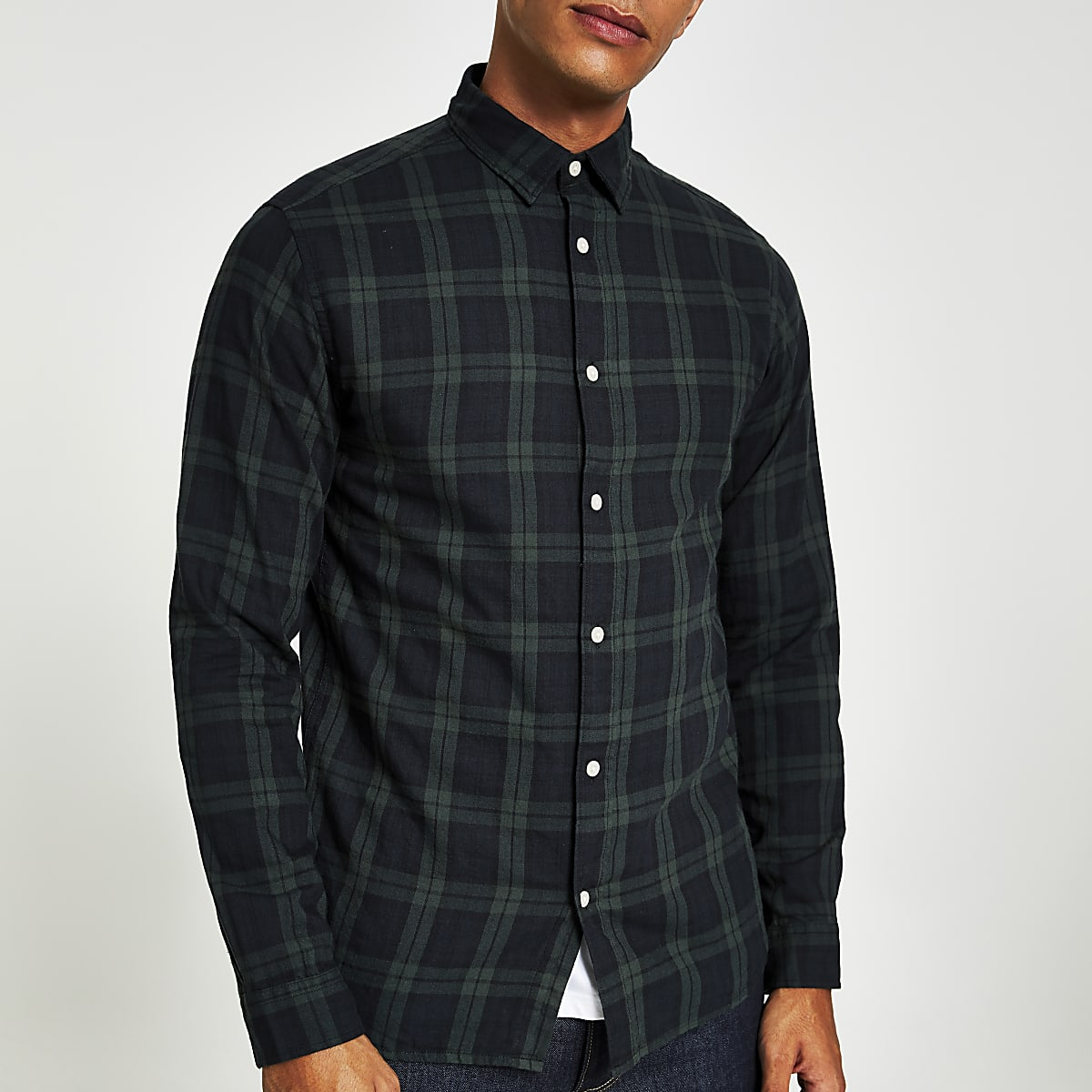 Selected Homme dark green check shirt