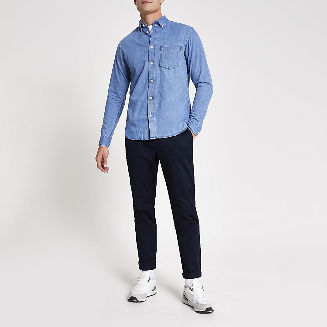 Selected Homme blue denim long sleeve shirt