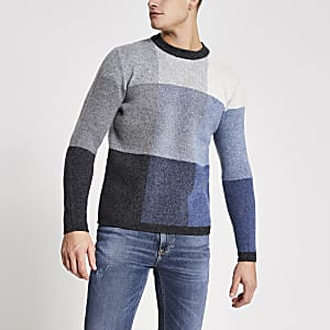 Selected Homme – Grauer Strickpullover in Blockfarben
