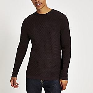 Selected Homme - Donkerrode gebreide pullover met kabelpatroon