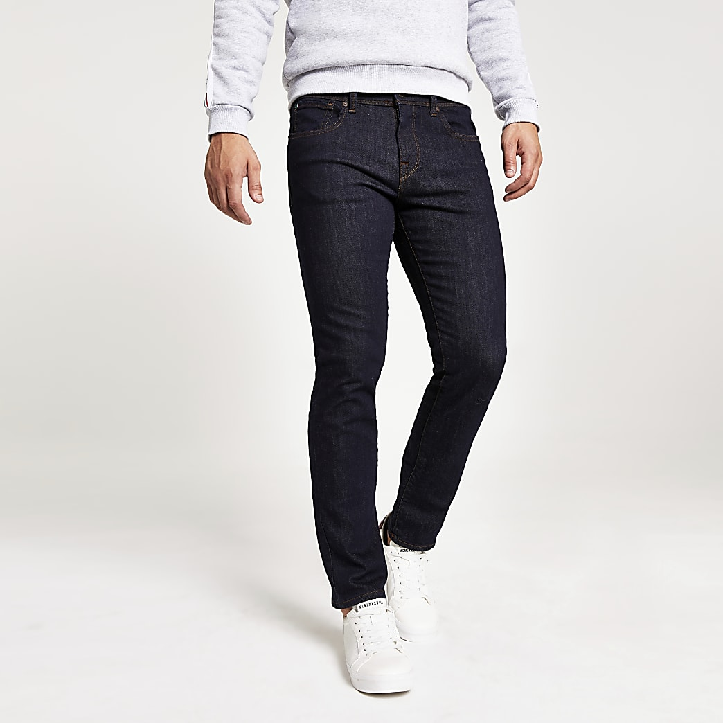 Selected Homme Leon dark blue slim fit jeans