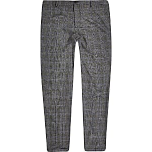 Selected Homme – Pantalon fuselé à carreaux gris
