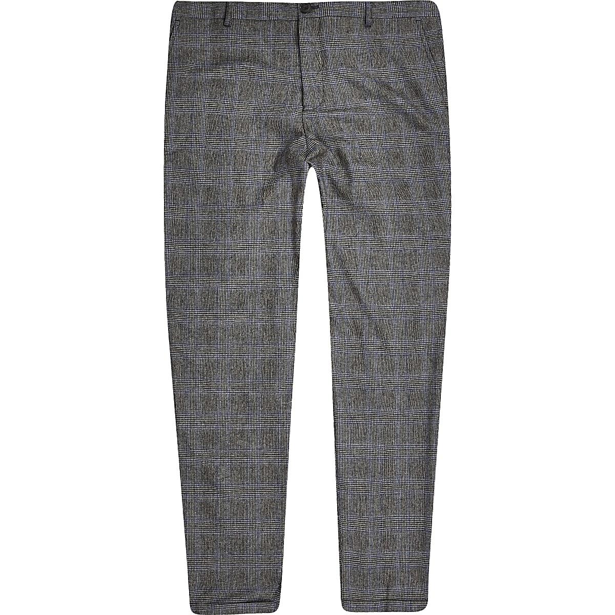 Selected Homme – Pantalon fuselé à carreaux gris