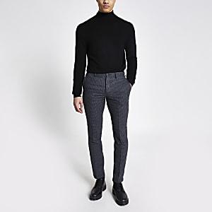 Selected Homme – Pantalon slim grisà carreaux