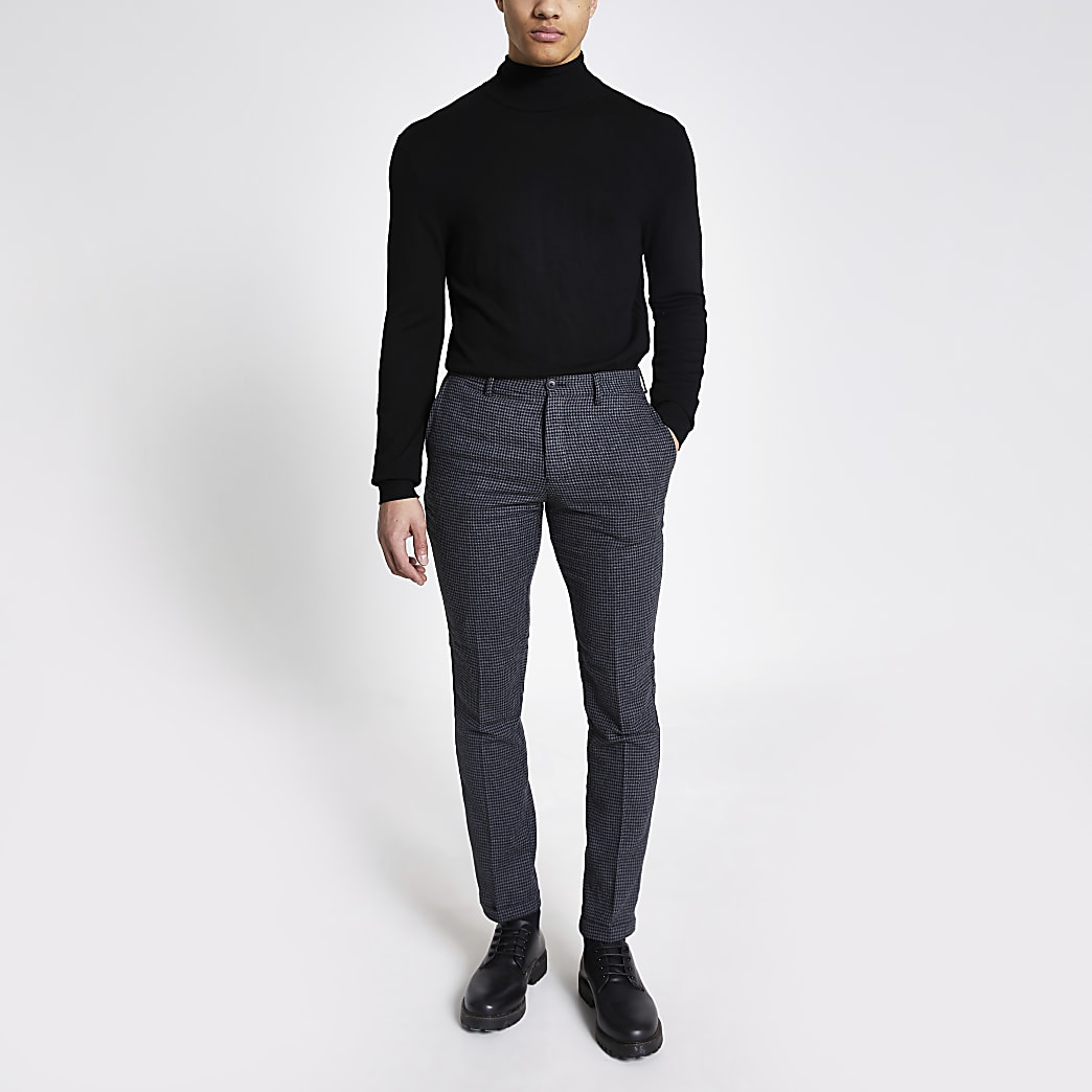 Selected Homme grey check slim fit trousers