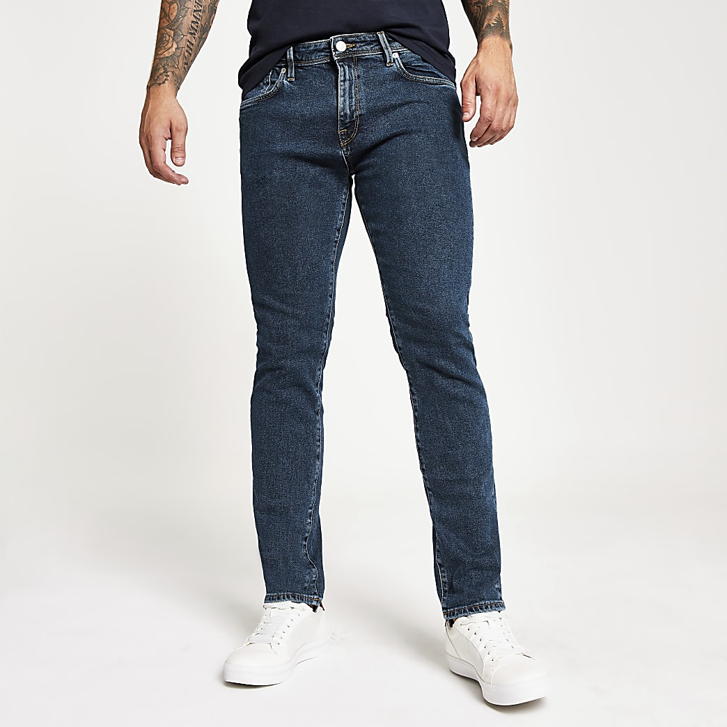 Selected Homme Leon mid blue slim fit jeans