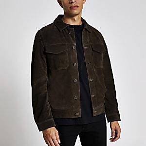 Selected Homme- braune Jacke aus Wildleder