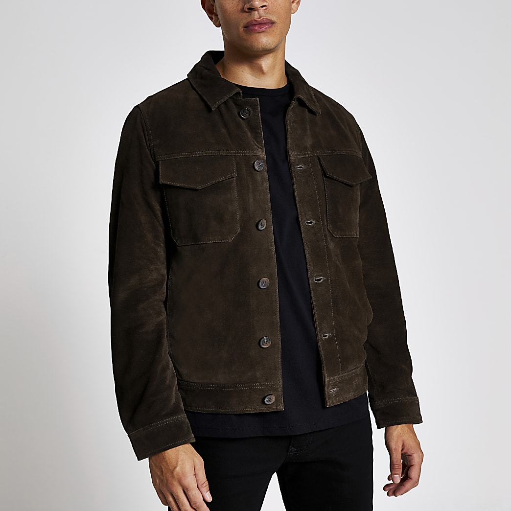 Selected Homme - Veste marron en daim