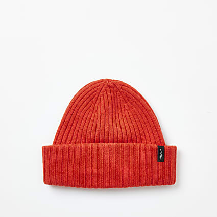 Selected Homme orange ribbed wool beanie hat