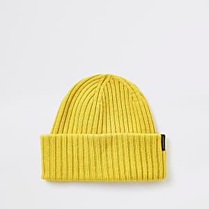 Selected Homme – Gerippte Beanie-Mütze aus Wolle in Gelb