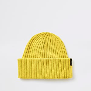 Selected Homme yellow ribbed wool beanie hat