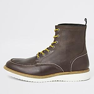 Select Homme -Bottes à lacets en cuir marron
