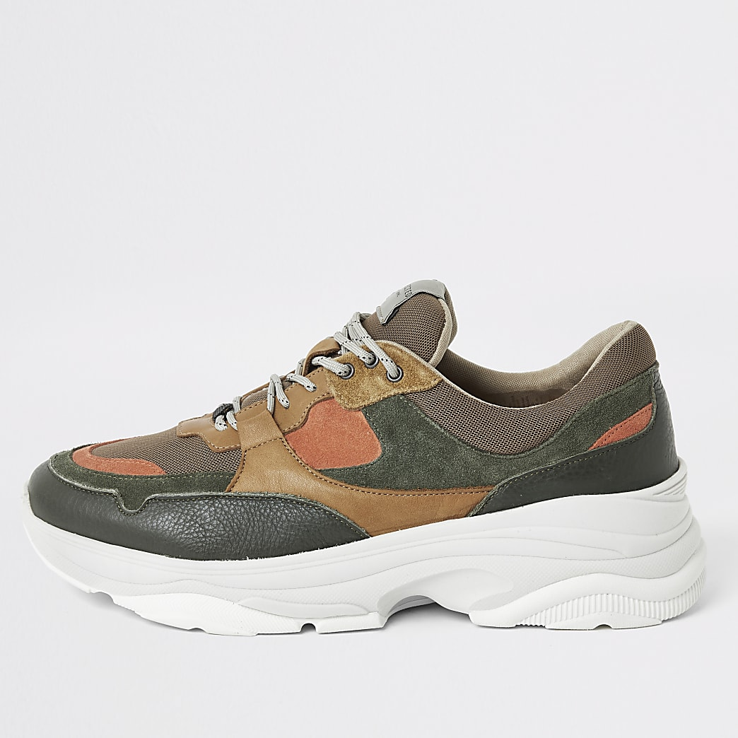 Selected Homme green chunky runner trainers
