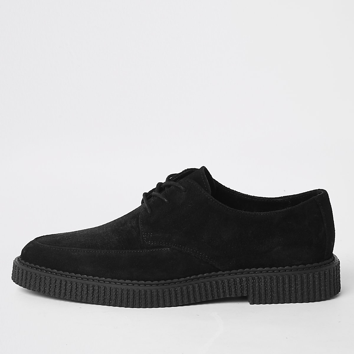 Black suede creeper shoes