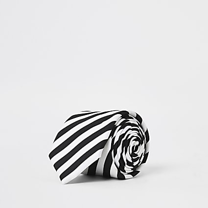 White monochrome stripe tie