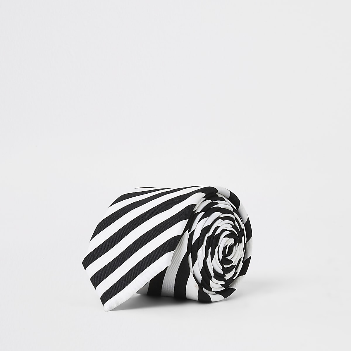White monochrome stripe tie